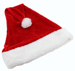 Wholesale hot santa costume - Hot! Father Christmas Hat Xmas Party Costume Santa Claus Adult Headgear Plush Cap Red TY1636