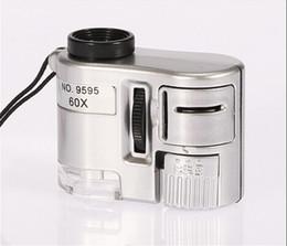 Wholesale Microscope Wholesalers - Wholesale Mini LED Light Jewelry Loupe 60X Zoom Magnifier Microscope