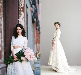 Wholesale two piece style wedding dresses - 2017 Popular Two Pieces Lace Wedding Dresses Jewel Neck 3 4 Long Sleeves High Low Plus Size Bohemian Style Bridal Gowns