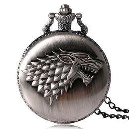 Wholesale House Digital - Game of Thrones Strak House Wolf Pocket Watch Necklace with Chains Fashion Jewelry for Men Women Gift 230271