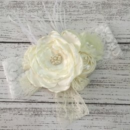 Wholesale Wide White Headband - Retail WIDE lace Headband with Layered Poppy Flowers Matching feather Baby Hairbands Boho Style Infant Accessories