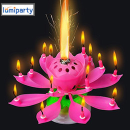 Wholesale Birthday Party Candles - Lumiparty 3pcs  Lot Lotus Candle Musical Flower Candles Led Tea Light Lotus Birthday Candle Happy Birthday Rotating Lights