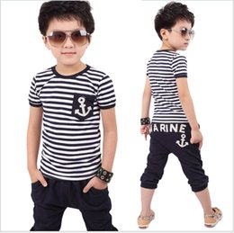 Wholesale Baby Clothes Military - 2Pcs Baby Boys Clothes Set 2018 Summer Navy Style Stripe Outfit Short Sleeve T-shirt Top+Middle Harem Pants Kids Clothing Sport Suits Retail