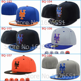 Wholesale Hat New York - Wholesale-Men's full Closed New York Mets fitted hat sport team NY 2 tone on field baseball cap