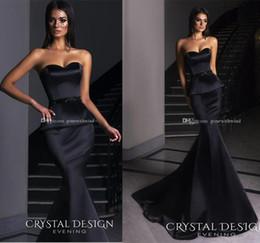 Wholesale Deep V Sweetheart Neckline Dress - black peplum skirt mermaid evening dresses 2018 crystal design evening gowns sweetheart neckline chapel train formal dresses