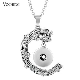 Wholesale Metal Vintage Pendants - NOOSA Necklace Ginger Snap Jewelry Vintage Metal Button Pendant 18mm with Stainless Steel Chain VOCHENG NN-313