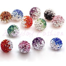 Wholesale Shamballa Gradient Bracelet - 100pcs lot Gradient Colorful 10mm Crystal Shamballa Beads Pave Clay Dico Ball for shamballa Bracelet Necklace