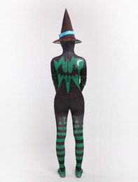 Wholesale Womens Witch Costumes - Wholesale-Womens Halloween catsuits witch costumes Lycra Spandex Zentai Suits costumes