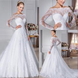 Wholesale Castle Wedding Dresses Long Sleeves - 2016 Glamorous Button Back Lace Wedding Dresses Off the Shouder Sheer long Sleeves vestidos de novia robe de mariage Wedding gowns