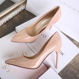 2019 Desnudo tacones Rosa punta Charol de Negro Rojo rosas mujer estrecha Zapatos de puntiagudos Mujeres wxwRd0Tqra