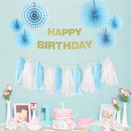 Wholesale Fan Suppliers - 9pcs Set Blue Theme Party Decoration Happy Birthday Boy Party Supplier Tissue Paper Fans Baby Shower Birthday Party Decorations