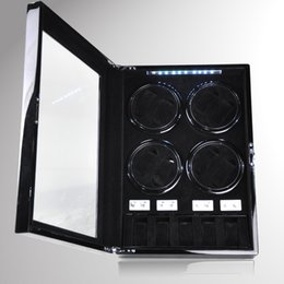 Wholesale Watch Switches - Wholesale- NEW DESIGN 8+5 Automatic Watch Winder box Watches storage case display with LED light  TPD mode  Door open switch