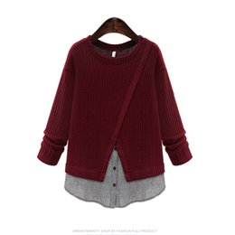 Wholesale False Knitting - Wholesale- New Arrival Acrylic Casual Pullovers Sweaters Spring Autumn Stitching false two pieces Patchwork O-neck Sweaters
