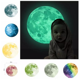 Wholesale Planets Wall Decals - 30cm Planet Wall Decals Luminous Wall Stickers Glow In The Darkness Earth Decals For Kids Rooms Wall Decoration sticker