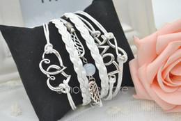 Wholesale Double Wings Bracelet - Wholesale-2015 LOVE Multilayer Braided Bracelet Angel Wings Bangle Double HEART Girls Punk Style Hand Chain Handmade Cuff Bangle FMHM034