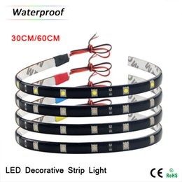 Wholesale Led Strips For Autos - 1xWaterproof 12V 30CM   60CM Flexible High Power LED Strip light 5050 SMD For Car Auto Decoration lamp   Daytime Running lights