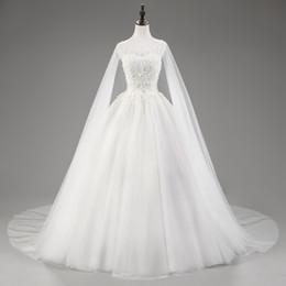 En Stock Tulle con una larga manga de la chaqueta Scoop Neck Backless Lace Up apliques con cuentas vestido de bola vestido de boda tren vestido de novia desde fabricantes