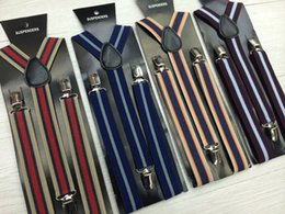 Wholesale Unisex Fashion Suspenders Braces - 2017 y-back adjustable striped adult  big child suspenders braces