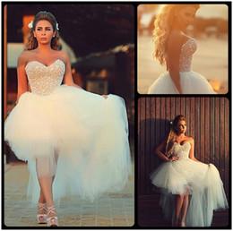 Wholesale Wedding Dresses Sweetheart Neckline Princess - 2016 Gorgeous Sweetheart Neckline Sleeveless Pearls Beaded Tulle High Low Wedding Dresses Short Beach Bridal Wedding Dress