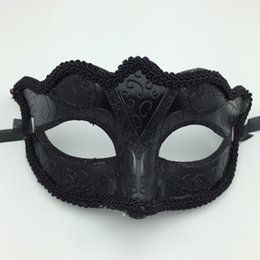 Wholesale Man Sexy Christmas - Black Venice Masks Masquerade Party Mask Christmas Gift Mardi Gras Man Costume Sexy lace Fringed Gilter Woman dance Mask free shipping B125