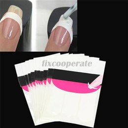 Wholesale Nail Art Halloween Stencils - French Nail Art Tips Nail Stickers 3 Style Form Fringe Guides Sticker DIY Stencil Nail Decoration Nail Art Decal