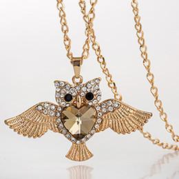 Wholesale Owl Dresses For Women - Summer Dress 2015 Fashion 18K Gold Plated Vintage Owl Necklace Jewelry For Women Statement Necklace Women Jewelry