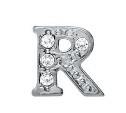 """Wholesale Alphabet R Charms - 20pcs lot DIY Alloy Charm Crystal Silver Alphabet Letter """" R """" Fit For Glass Floating Locket"""