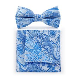 Wholesale Business Women Formal Suits - TIESET Polyester Paisley Bow Tie & Hanky Set Floral Bow Tie for Business Ocation and Formal Suit Free Shipping