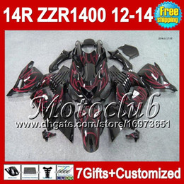 Wholesale Kawasaki Zzr Red - 7gifts Red flames For KAWASAKI 12 13 12 13 ZZR1400 2C5152 ZZR-1400 2012 2013 2012 2013 ZZR 1400 NINJA ZX14R 12-13 NEW Red black Fairing