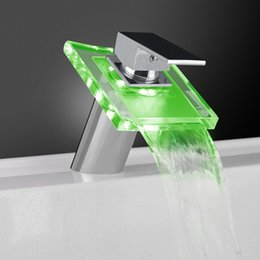 Wholesale Changing Basin Taps - Newly US Chrome Finished Bathroom Waterfall Sink Basin Faucet Glass Spout LED Color Changing Mixer Tap Deck Mount