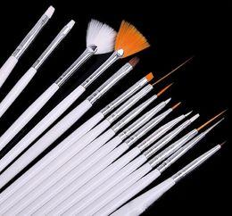 Wholesale Nail Art Drill Point Pen - Nail art brush drawing paint brush set finger brush set of tools nail art drill point pen light therapy pen crystal pen 1Sets=15pcs