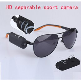 Wholesale Sport Sunglasses Camera - HD 1280*720P sport Sunglasses hidden camera spy glasses DVR DV camcorder 30fps separable mini video record Put on your glasses portable cam