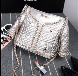 Wholesale Diamond Lattice Jacket - 2016 Amliya new diamond lattice chain clothes model bag single shoulder female leather jacket type Handbags Personalized bag