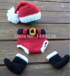Wholesale Toddler Crochet Santa Hat - Wholesale-Santa Claus Christmas Toddler Boy Girl Baby Beanie Costume Animal baby hats Caps Sets Take Photo Photography Props Knit Crochet