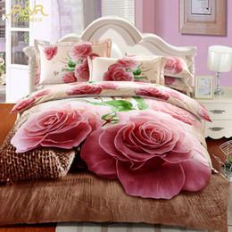 Wholesale King Size Flowered Cotton Sheets - Wholesale- New 100% Cotton 3D Bedding Set 4 pcs Queen King Size Flowers Nacklace Sanding Warm Bed Linen Duvet Cover Sheet Sets for Winter