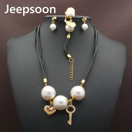 Wholesale Mother Pearl For Sale - Gold Color Jeepsoon Stainless Steel Jewelry Round Style Necklace Bracelet earrings sets Supernova Sales for women Gift SFGZABCI