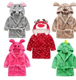 Wholesale Children Bathrobes Wholesale - Baby Bathrobes Towel Children Boys Girls Animal Cartoon Pattern Nightgown Kids Clothing cartoon hooded kids warm animal Clothing KKA3309