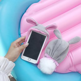 Wholesale Iphone Case Cover Bunny - Pink Girly Fabric hat Case Soft Back Cover For iPhone X Case for iphone 8 8plus 7 7plus 6 6s 6s+ Bunny furball
