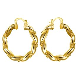 Wholesale Twisted Gold Plated Hoop Earrings - Yellow Gold Plated Chinese Knot Twist Loose Hoop Earrings For Woman 1 Pair