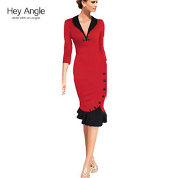 Wholesale Wholesale Mermaid Evening Dresses - Wholesale-Mermaid Button 2015 Winter 34 Sleeve red New Vintage dress V neck formal wear to work evening party bodycon office Midi dress