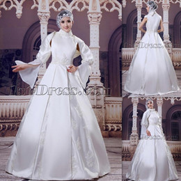 Wholesale Long Shirts For Women Simple - 2015 High Neck Muslim Wedding Dresses Satin With Long Sleeves A-line Appliques Lace Floor Length Arabic Islam Bridal Gowns For Women Brides
