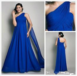 Wholesale Greek Party Dresses - Elie Saab Royal Blue Chiffon Evening Dresses One Shoulder Floor-length Celebrity Bridesmaid Bridal Party Gowns 2015 Greek Style Cheap