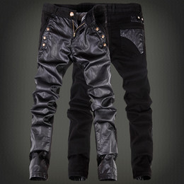 Wholesale Men Blue Leather Pants - High Quality Spring Winter Fashion HIP Mens faux leather pants zipper design sweatpants Skinny Motorcycle joggers casual PU trouser Jeans
