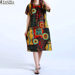 Wholesale Womens Plus Tunic - Wholesale- M-5XL ZANZEA NEW Womens O Neck Floral Print Short Sleeve Cotton Linen Casual Knee Length Dress Baggy Boho Tunic Kaftan Plus Size