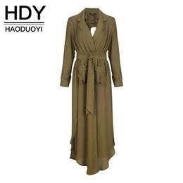 Wholesale Green Short Trench Coat - HDY Haoduoyi Chiffon Longline Coats Women Long Sleeve Turn-down Collar Female Outwear Slim Split Army Green Trench Coats