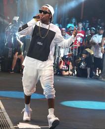Capa roupa homem on-line-Quente! Camisas dos homens t moda 2015 homens roupas Capuz por air hba x sido tril kanye west manga comprida hip hop homens t camisa