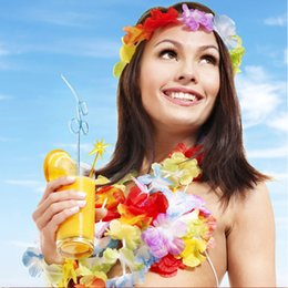 Wholesale Fun Necklaces - Hot Hawaiian leis Party Supplies Garland Necklace Colorful Garland Fancy Dress Party Hawaii Beach Fun Decorative Flowers IB548