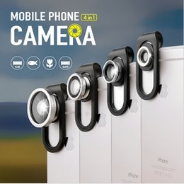 Wholesale Ipad Iphone Camera Lens - 4 In 1 Clip Fish Eye Lens Macro Wide Angle Universal Smartphone Camera Lens For iPhone Samsung iPad HTC