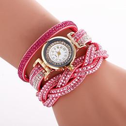 Relógio de couro trançado on-line-Longo Genuíno Pulseiras De Couro Completa Pulseira De Cristal Mulheres Relógio De Luxo Diamante Trançado De Pulso De Quartzo Relógio Relógio