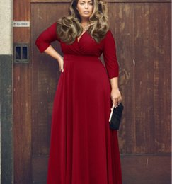 Wholesale Women Chiffon Summer Dress - 2016 New Fashion European And American Sexy Dress Dress Female Solid Color Big Wing Red Long Dress Plus Size Xxxl B&60